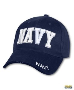 Navy Cap with Raised Lettering