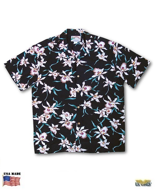 Black Star Orchid Aloha Shirt