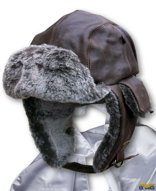 Vintage Leather Aviator Trapper Cap Combo