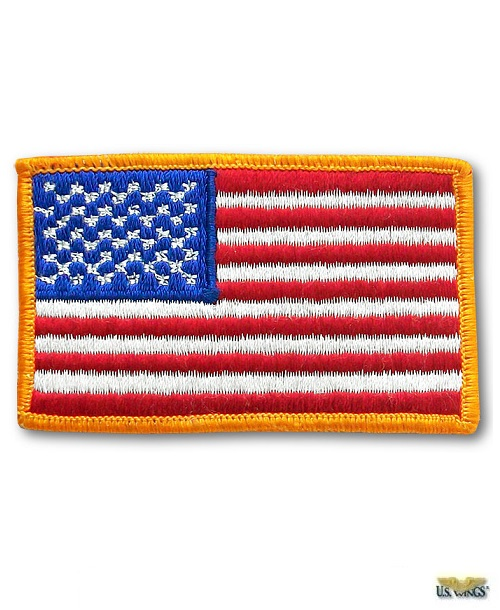 US Flag Patch with Gold Trim
