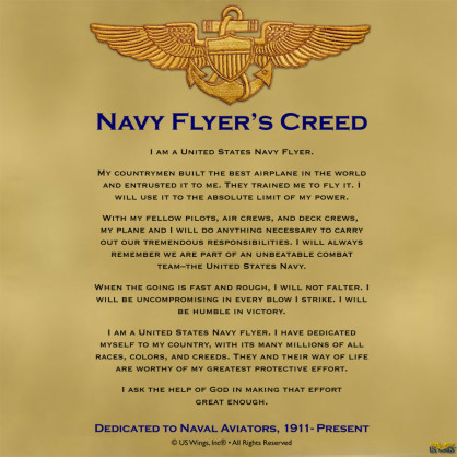 Navy Flyers Creed Wings of Gold Lining