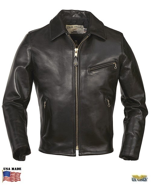 Schott® Men's Classic Horsehide Black Leather Racer Motorcycle Jacket
