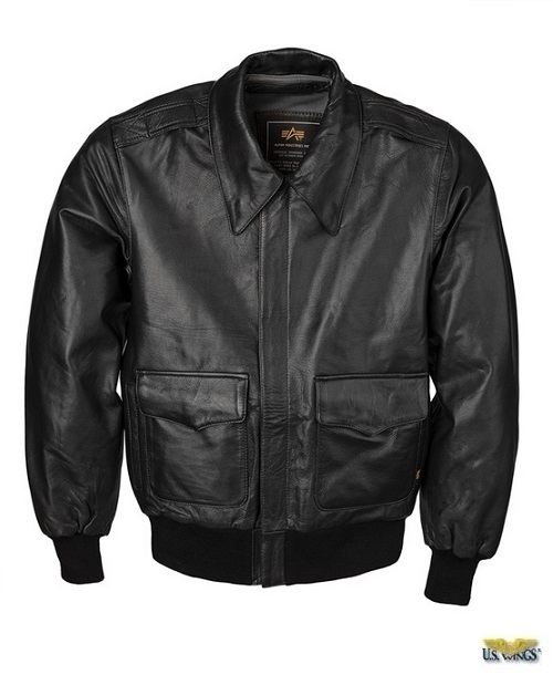 Alpha Black Goatskin Modern A-2 Leather Jacket