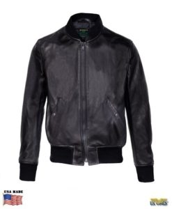 Schott® Lightweight Pebbled Cowhide Leather MA-1 Jacket